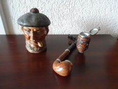 Antique tobacco jar from 1890 + vintage old hand cut hunting pipe from Bruyere.