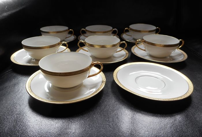 Limoges France Coronet tea and bouillon cups & saucers with 24K gold ...