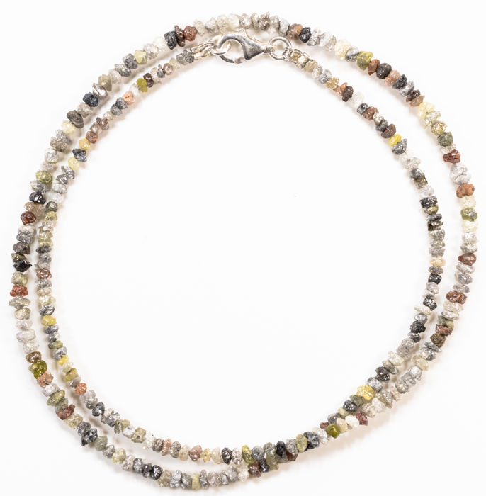 22.90 ct Bracelet or Necklace with multi-color Rough Diamonds