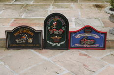 Harley Davidson original pub signs set of 3 pieces - 20th century