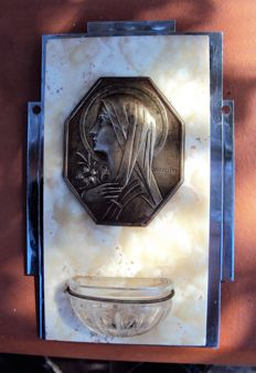 Stoup in Art Deco style (1919/1930), signed - bronze, crystal and white marble - France