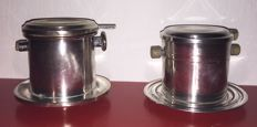 Pair silver plated filter cups , Galia Art Deco espresso coffee filters, coffee tea sieve dripper - Christofle