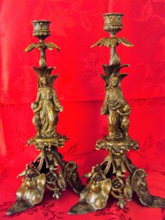 Exceptional candlesticks with and Mary carved on them - France - period Napoleon III - bronze plated metal