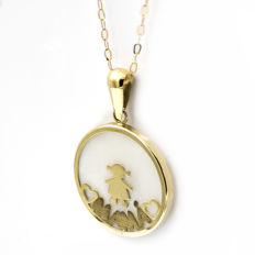 Yellow gold 18 kt - Chain necklace and pendant - Mother of pearl -Diameter: 20.50 mm