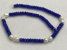 Necklace - Sapphire - Pearl - 18 kt gold - 48.50 cm