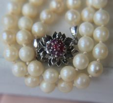 Antique necklace from cultivated baroque pearls with a Sterling Silver clasp set with small Rubies for 0.38ct **No reserve**