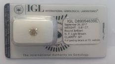 0.81ct   Round  cut diamond NATURAL   Fancy Light Brown SI1 IGL -No Reserve