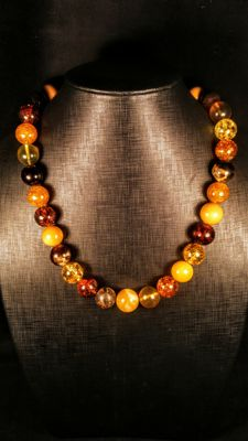 Polished round beads modified mix colour Baltic Amber necklace, Length 58 cm, 92 grams