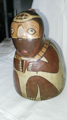 Vase with anthropomorphic decoration - dimensions H 180 mm - width 130 cm