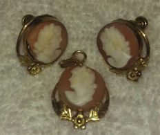 12k gold filled hand carved Carnelian Shell Cameo Earrings and Pendant signed by Van Dell no reserve