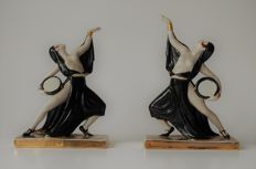 Art Deco Style Couple of Porcelain Handpainted Bookends - Oriental Female Dancers