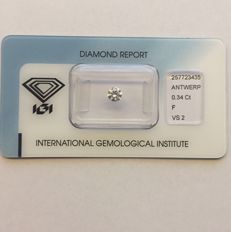 Natural diamond, 0.34 ct, colour F, clarity VS2