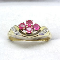 A Vintage 9K Yellow Gold Ruby and Diamond Ring