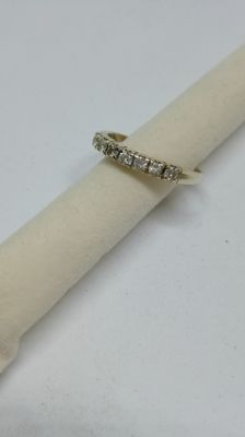 Ring with 7 diamonds, Top Wesselton, 0.28 ct - size 55