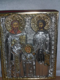 Holy Raphael, Nicholas and Irene - precious metal,silver plated -Russia -20e century   *