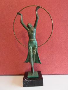 Max Le Verrier (charles) - Art Deco sculpture of a dancing girl with hoop