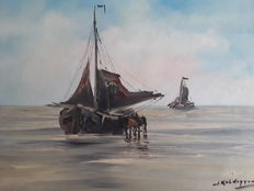 Jan Kelderman (1914-1990) - Boot op strand