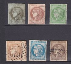 France 1870 - Ceres, Emission de Bordeaux - Yvert no. 39 - 47