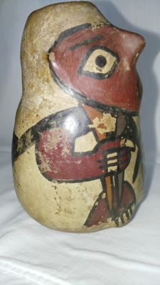 Small vase with anthropomorphic decoration - h 110 mm - 80 mm diameter