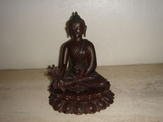 Medicine Buddha statue on throne bronze - Nepal - late 20th century
