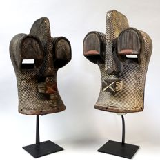 Couple African KIFWEBE masks - SONGYE - D.R. Congo