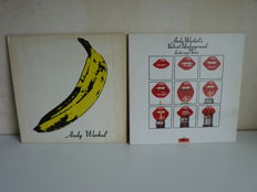 Lot with 2 albums  of Andy Warhol's Velvet Underground featuring Nico : 1967 Unpeelable Banana Cover / Airbrushed Torso on Verve stereo V6 5008 and Velvet Underground  featuring  Nico on Polydor 2629001 (mint!)