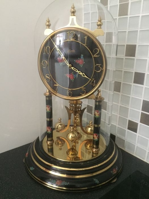 German 400 day Clock under glass dome - period mid 20th century