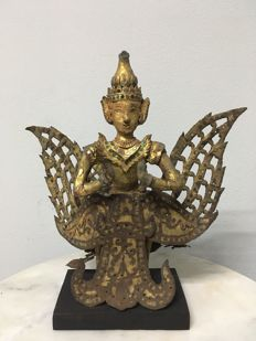 Wooden Gilt Glass Inlaid Angel. Mandalay period - Burma - 19th century.