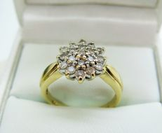 Diamond Cluster 9K Gold Ring (0.50ct) Size 53 3/8 (N) - Free Resizing