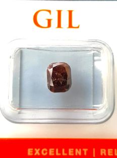 2.20 ct - Cushion Cut -  Diamond Natural  Fancy Dark Orangy Red - G/G/VG - P3 - Untreated