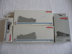 Märklin H0 - 24611/-12/74461/-90 - 2 straight C-rail points with 2x points mechanisms/drives and 2x points decoder