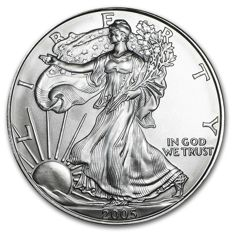 USA - $1 - US Mint - 1 oz 999 silver / silver coin - American silver eagle 2005 - old vintage