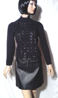 Roccobarocco - Set of jumper with strips and leather skirt