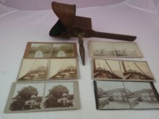 Antique stereoscope with 6 stereoscopic photos, around 1900