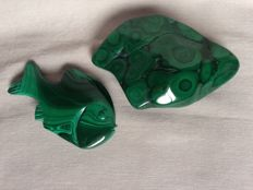 Nice Green Malachite polished - 13x8,5x3,5 cm and a beautiful fish - 10x6x2 cm (2)