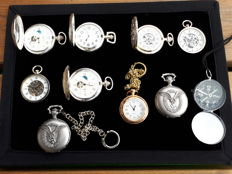 9 Pocket watches - 6 mechanical and 3 quartz + 1 compass