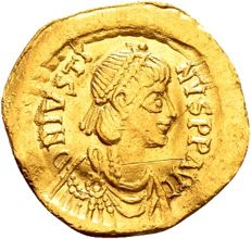 Byzantine Empire – Gold Tremissis of emperor Jusinus I (518–527 A.D.), struck in Constantinople