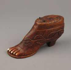 Antique wooden snuff box in the shape of a shoe, France or Belgium, late 19th century