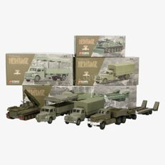 Corgi Classics - Scale 1/43 - Lot with 4 models from the Collection Heritage limited edition: 55102 DIAMOND T980 Remorque Porto - Char, 74001 CITROËN Type 55 Militaire Bâché, 73801 BERLIET GLR8 Militaire bâché, 66701 AMX Dépanneur.