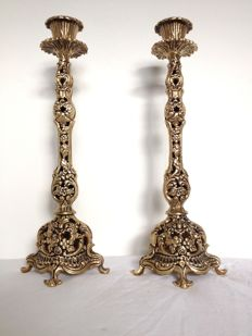 Judaica pair of gold-plated Sabbath candlesticks - Israel - c. 1950