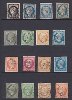 France 1849/71 - Selection of Classic Céres, Napoléon stamps,  including colour varieties - Yvert from no. 3 and 60A