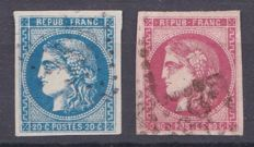 France 1870/71 - First choice - Yvert no. 46B and 48