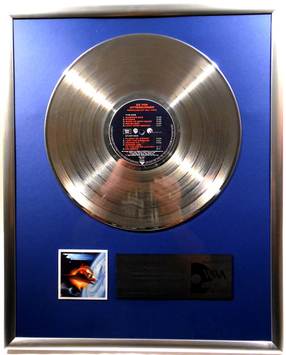 """ZZ Top - Afterburner - 12"""" Warner Bros. Record platinum plated record by WWA Awards"""