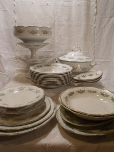 Richelieu Badonvillier / Fenal T - 29 piece antique ceramic table service.