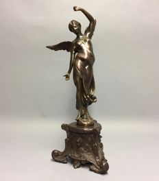 Polychrome bronze sculpture of an angel