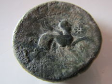 Roman Hispania - Castulo (Linares, Jaén), Bronze As (39 gr. 34 mm. minted aroud 180-150 B.C. CASTELE. Sphinx.