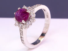Ruby & Diamonds cocktail ring - Size: 58 - No Reserve!