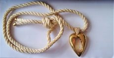 Piaget Auth Heart Shape 18 Ct Yellow Gold & Diamond Pendant  with white cotton Cord L 33 cm