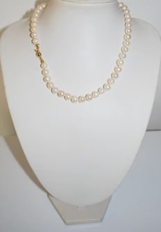 Cultured freshwater pearl necklace, from 7.5 mm, with 925 silver clasp,  length: 43 cm,