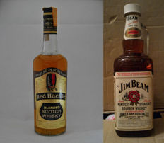 2 bottles - Red Hackle Blended Scotch Whisky - 75 cl - 43%  & Jim Beam Bourbon Whiskey - 150 cl - 40%
